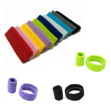 1 SET Cotton Sport Yoga Headband Head Hair Band Sweat Sweatband Men Women Wrist Wraps Support Tennis Basketball Wristband