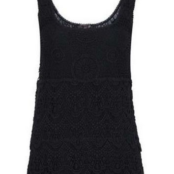 Round Neck Black Lace Vest