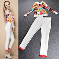 White Cartoon Character Print Long Sleeve And White Pencil Cut Dotted Hem Pants