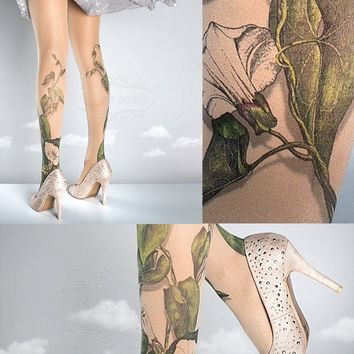 10%OffEndsMay31 Tattoo Tights -  Climber Plant nude one size full length closed toe pantyhose tattoo socks ,printed tights