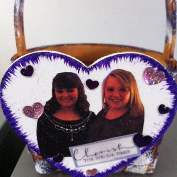 Basket with Picture--Custom Made to Order--Easter Mother's Day Father's Day ANYDAY