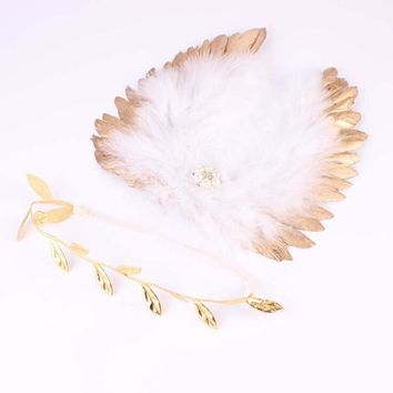 1 Set Newborn Feather Gold Wings Matching Gold Leaf Headband Photography Props Newborn Wings Photo Props Accessories