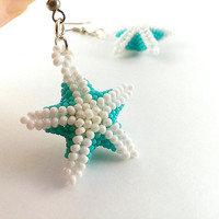 Turquoise star earrings White jewelry Beaded earrings Seed bead stars Space earrings Star charm jewelry Turquoise wedding Gift for sister