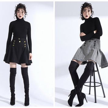 high waisted skirt,pleated skirt,pleated mini skirt,school girl skirt,skater skirt,black skirt,gray skirt,grunge skirt,fashion skirt.--E0797