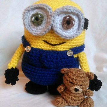 Minion Inspired Bob and his Teddy Bear; CROCHET PATTERN PDF