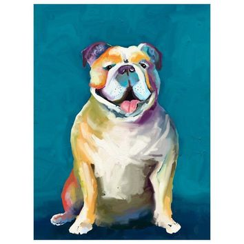 Best Friend - Bulldog On Blue Wall Art