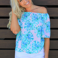 Tropical Oasis Off the Shoulder Top