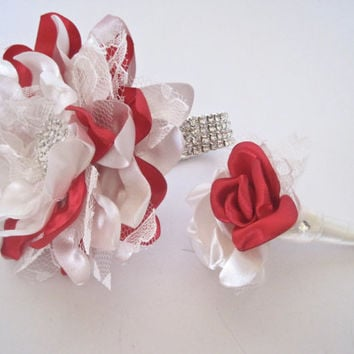 Prom Homecoming Set Red And Ivory Satin with Lace Wrist Corsage Boutonniere with Rhinestone Accents Ready to Ship Now Prom Homecoming