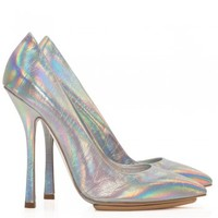 Stella McCartney - Holographic silver court shoes - Cricket Fashion Boutique UK
