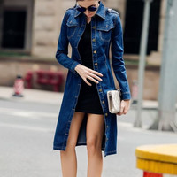 2016 maxi  S-4XL Women autumn spring Denim qpaulet Dress long Sleeve Vestido vaquero BIG SIZE jean trench with adjustable belt