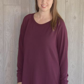 Favorite for Fall Burgundy Side Button Top