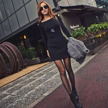 Fashion Women's Ladies Long Sleeves Off Shoulder Slim Fit Knitwear Sexy Bodycon Mini Dress