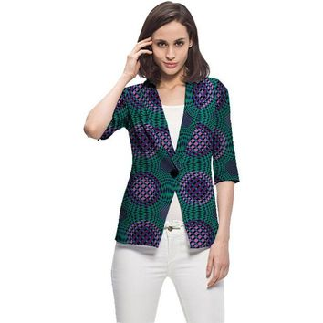 DKF4S Elegant women casual balzer jackets african print fashion coats ladies casual dashiki coats of africa clothing
