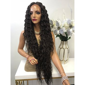 """Brown Deep Waves Hair Lace Front Wig 32"""" Abigail 0119 5"""