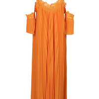 Orange Crochet Insert Cold Shoulder Open Back Pleated Maxi Dress
