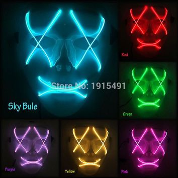 2018Cheap!New EL wire mask LED neon mask with 3V Steady on Driver for Halloween and Scare Horror Theme Party supplies Party mask