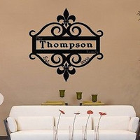 FLEUR DE LIS PERSONALIZED Family Name Est Date Vinyl Wall Decal Sticker