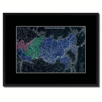 Russia Siberia Vintage Vivid Color Map Canvas Print, Picture Frame Home Decor Wall Art Office Decoration Gift Ideas