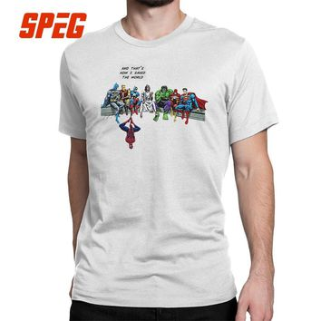 Batman Dark Knight gift Christmas Captain America Spiderman Batman Superman And That Is How I Saved The World Jesus T-Shirts Crewneck T Shirts Hip-hop Male Tees AT_71_6