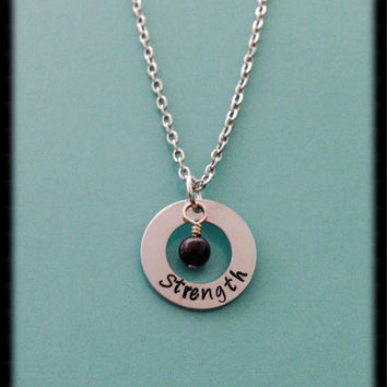 Handstamped 'Strength' necklace. Inspiration jewelry. Inspiration necklace.