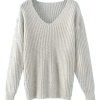Gray V-neck Long Sleeve Chunky Knit Jumper