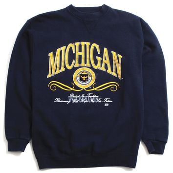 University of Michigan Rooted In Tradition 20/20 Sport Crewneck Sweatshirt Navy (Large)