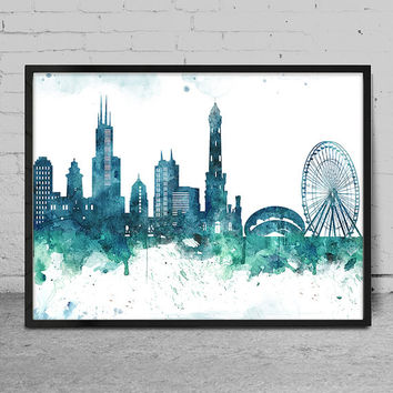 Chicago skyline, Chicago print, Chicago abstract, Watercolor Art print, Chicago skyline, Wall Art Print decor, Watercolor Painting -x80