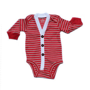 Baby Cardigan - Red with Grey Stripes Preppy Baby Boy Cardi - Perfect for a Winter Baby Shower Gift