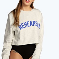 Faye Raw Edge Cropped Sports Sweatshirt