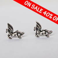 ON SALE Tiny Silver 950 Stud earrings, 10mm minimalist earrings, small white earrings, pegasus earrings