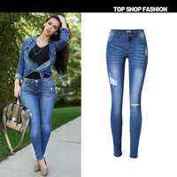 Women's Fashion Hot Sale Stretch Ripped Holes Denim Plus Size Skinny Pants [10734934991]
