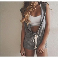 Hooded Jumpsuit Women 2016 New Fashion Summer Style Sleeveless Playsuit Shorts Pants rompers Nightclubs Party Casual