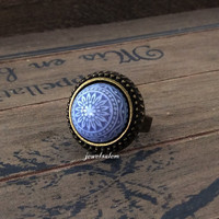 Blue Ring Gift Under 25 Exotic Mosaic Tile Vintage Style Paisley Lattice Lord of the Rings Arwen Fantasy Indie Gypsy Bohemian Statement T1