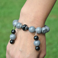 Gray Beaded Bracelet/Matching earrings, Large Glass Beads Women Jewelry, Gray Bracelet, Gray/Black matching Earrings,