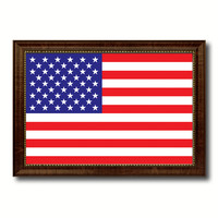 American Flag United States of America Canvas Print with Brown Picture Frame Home Decor Gifts Wall Art Decoration Gift Ideas