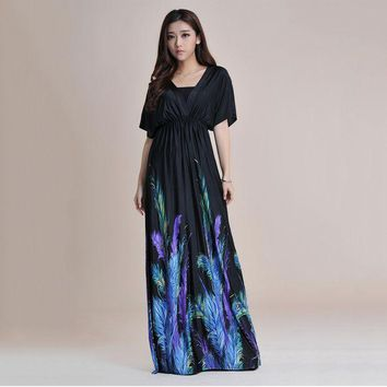 PEAPUNT 2016 Summer Short Batwing Sleeve Sexy Backless Long Maxi Dress Women Print Loose Plus Size Beach Boho Silk Dresses Large 6XL