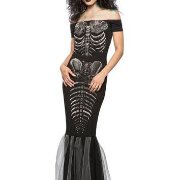 Halloween Slash Neck Skeleton Pattern Women's Maxi Dress
