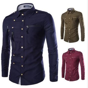 Fashion Mens Slim Fit Button Down Korean Version Cotton Shirt Zipper pocket Shirt Long Sleeve Shirt Luxury Business Shirts  y232