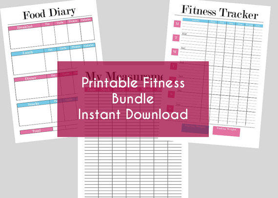 Printable Fitness Bundle - Food Diary, from ...