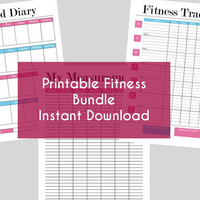 Printable Fitness Bundle - Food Diary, Fitness Tracker and Measurement Chart - Weight Loss Management - Instant Download - A4, A5 & 8.5 x 11