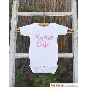 Girls Winter Shirt - Pink Snow Cute Onepiece or T-shirt - Baby Girls Snow Cutie Outfit - Baby, Toddler, Youth - Sibling Shirts