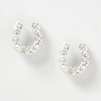 Crystal Horseshoe Silver Stud Earrings – Claire's