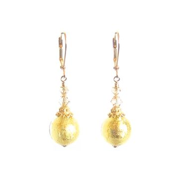 Murano Glass Clear Ball Gold Earrings