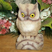 Brown Owl Coin Bank Flocked Plastic Figurine 1960's Collectible Bird Statuette Carnival Kitsch Woodland Home Decor from A Vintage Addiction
