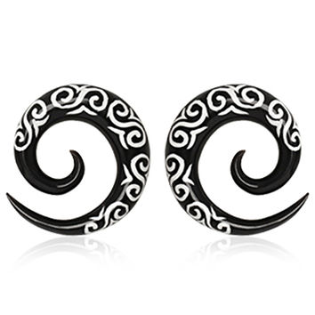 Pair of Buffalo Horn Spiral Taper with Tribal Logo