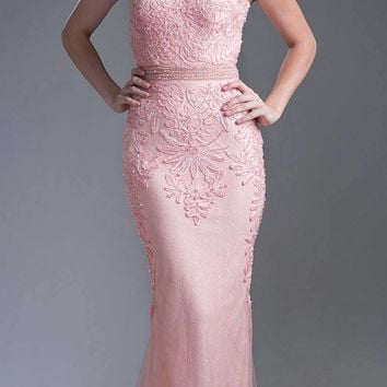 Peach Appliqued Long Formal Dress Cap Sleeved