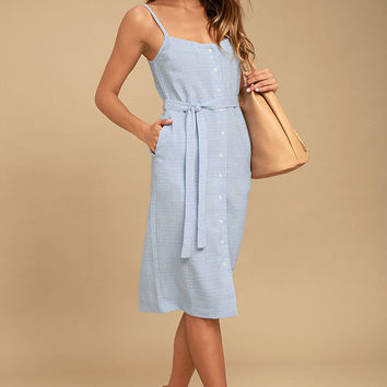 Ali & Jay Ferris Wheel Fever Light Blue Plaid Midi Dress