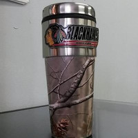NHL Chicago Blackhawks 16oz Stainless Steel RealTree Camouflage Travel Tumbler