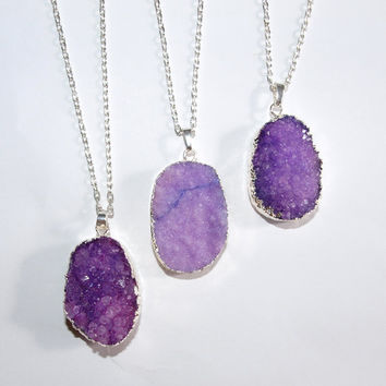 Violet druzy necklace Purple quartz raw pendant boho necklace gemstone Crystal pendant Silver stone necklace for women Lilac necklace