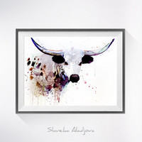 Longhorn watercolor painting print, Longhorn art, animal art, Cow illustration, animal watercolor, farm art, farm watercolor